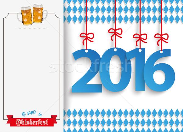 Oktoberfest Oblong Banner Beer Ribbon 2016 Stock photo © limbi007