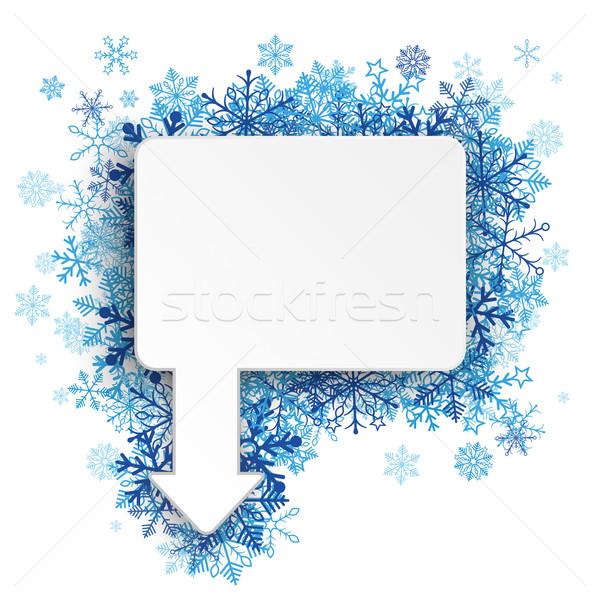 Photo stock: Rectangle · flèche · bleu · flocons · de · neige · blanche · eps