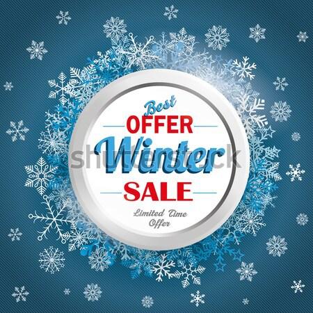 Tél vásár papír körök hópelyhek eps Stock fotó © limbi007