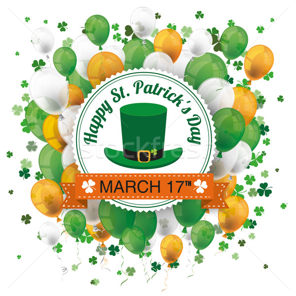 Stock photo: St Patricks Day Ribbon Emblem Balloons Cloverleafs