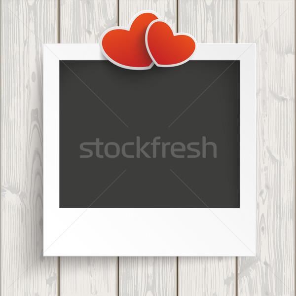 Immediato photo frame cuori legno legno eps Foto d'archivio © limbi007
