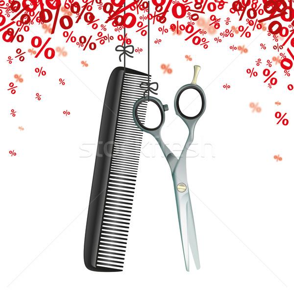 Hanging Scissors Comb Red Percents Stock photo © limbi007