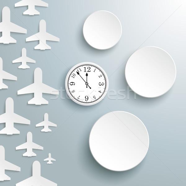 Papier jet dekken cirkels horloge witte Stockfoto © limbi007
