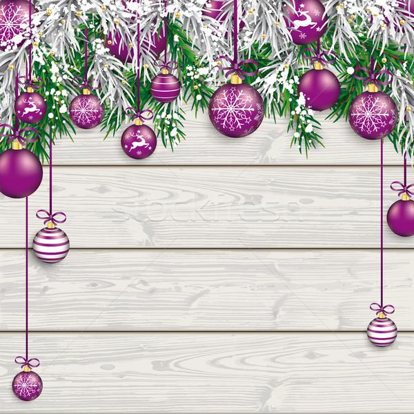Christmas  Frozen Green Fir Twigs Wood Stock photo © limbi007