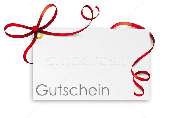 Gutschein Card Red Ribbon Bow Stock photo © limbi007