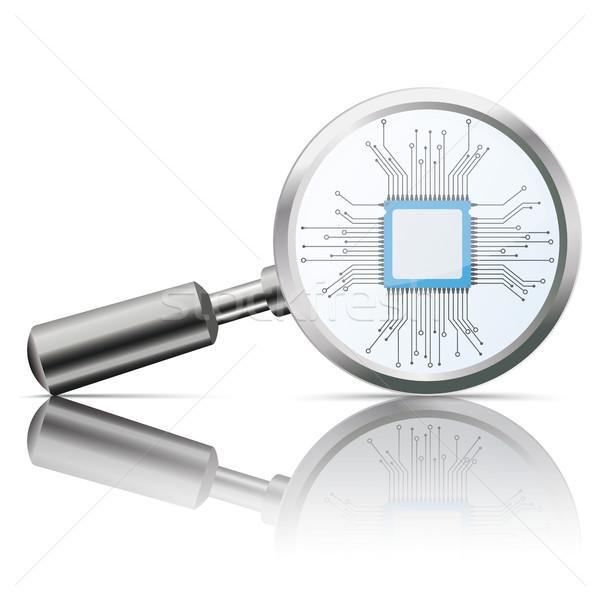Lente di ingrandimento specchio microchip processore bianco eps Foto d'archivio © limbi007