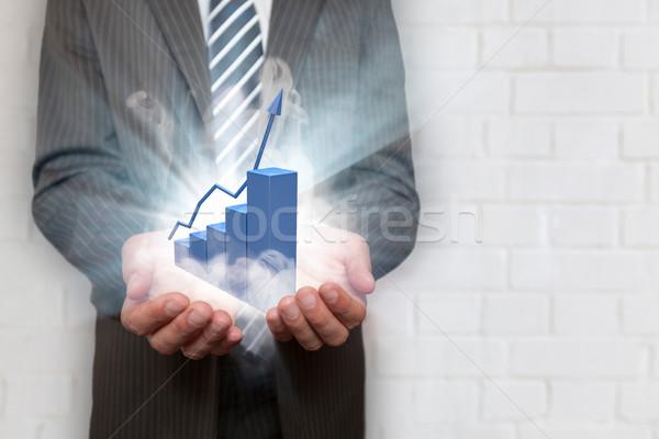 Foto stock: Empresário · mãos · azul · traçar · fumar · amarrar
