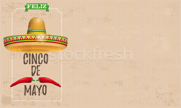 Sombrero Cinco De Mayo Chili Vintage Stock photo © limbi007