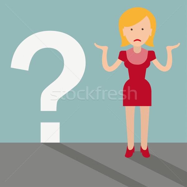 Desesperado Cartoon mujer cuestión signo de interrogación eps Foto stock © limbi007