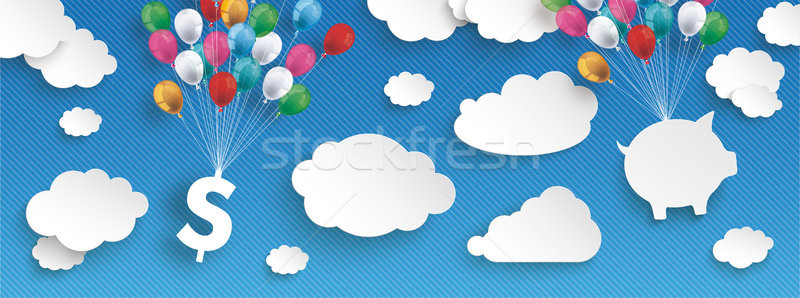 Paper Clouds Striped Blue Sky Balloons Dollar House Header Stock photo © limbi007