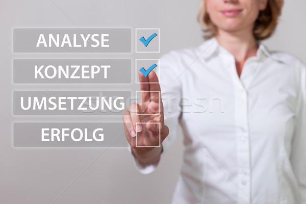 Vrouw tekst analyse realisatie succes business Stockfoto © limbi007