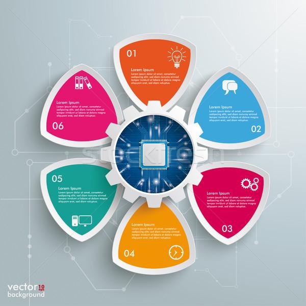 6 Round Triangles Gear Wheel Microchip Stock photo © limbi007