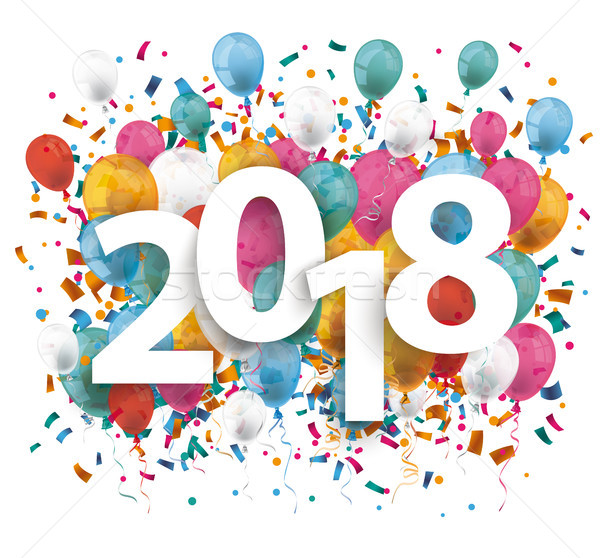 2018 Balloons Confetti Stock photo © limbi007