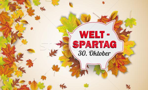 Stockfoto: Papier · spaarvarken · najaar · loof · 30