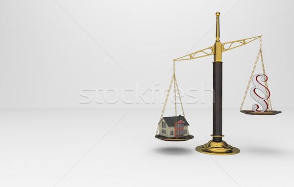 Nyaláb egyensúly bekezdés ház épület 3d illusztráció Stock fotó © limbi007