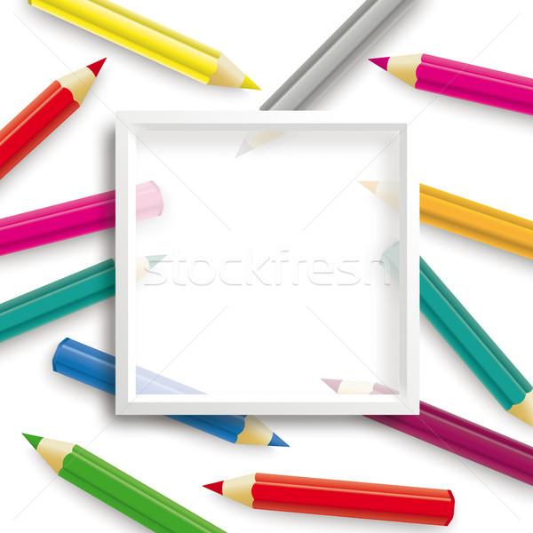 Bleistifte weiß Rahmen transparent eps Stock foto © limbi007