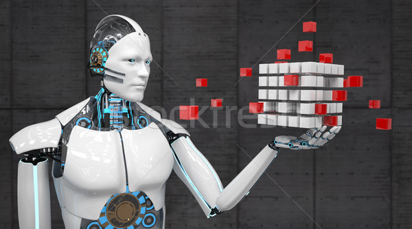 White Robot Abstract Cube Development Concept Stock photo © limbi007
