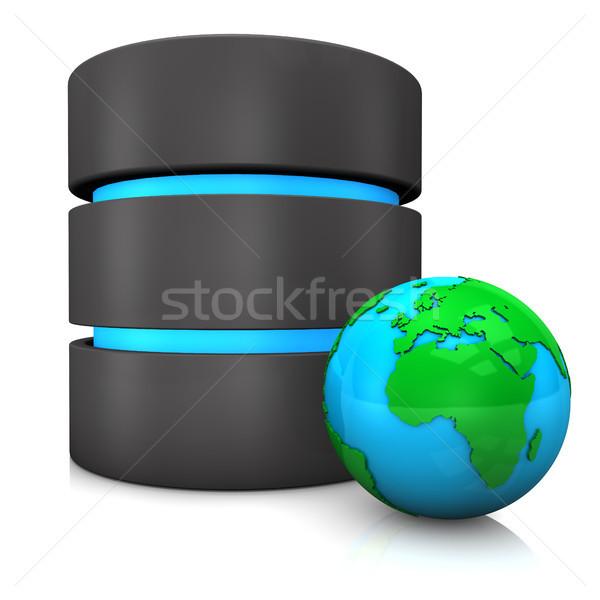 Bazy danych świecie biały technologii serwera ziemi Zdjęcia stock © limbi007