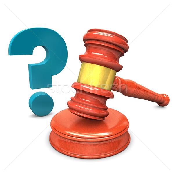 Açık artırma çekiç soru mavi soru işareti beyaz Stok fotoğraf © limbi007