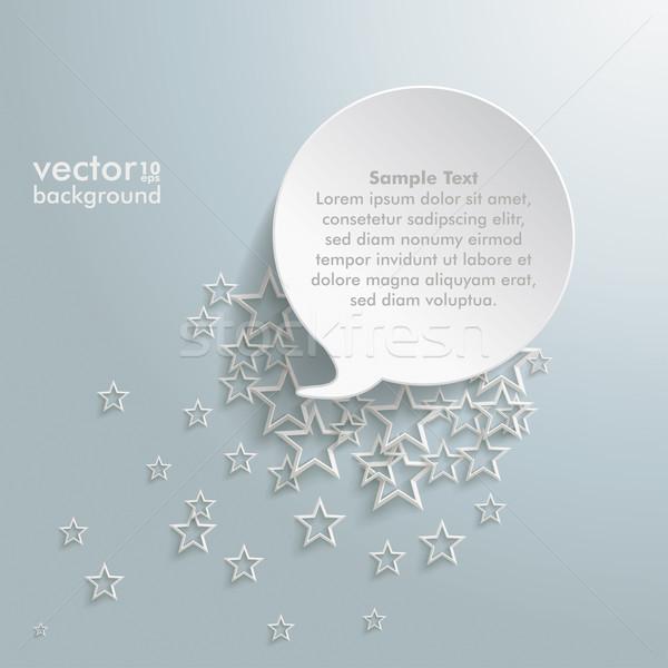 Tekstballon sterren witte grijs eps 10 Stockfoto © limbi007