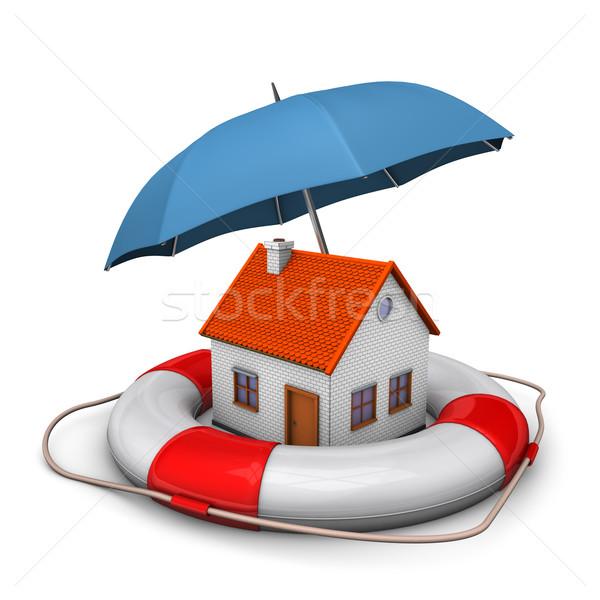 House Umbrella Lifebelt Stock photo © limbi007