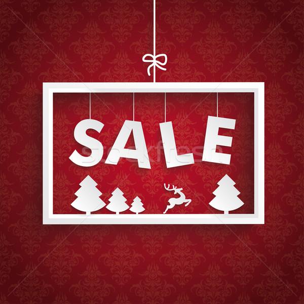 Red Ornaments White Frame Christmas Sale Stock photo © limbi007
