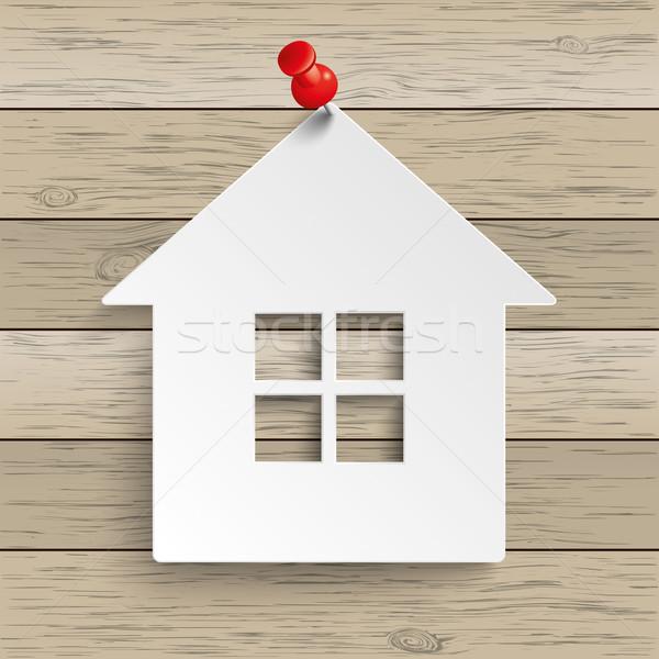 Papír ház rajzszeg fa fából készült eps Stock fotó © limbi007