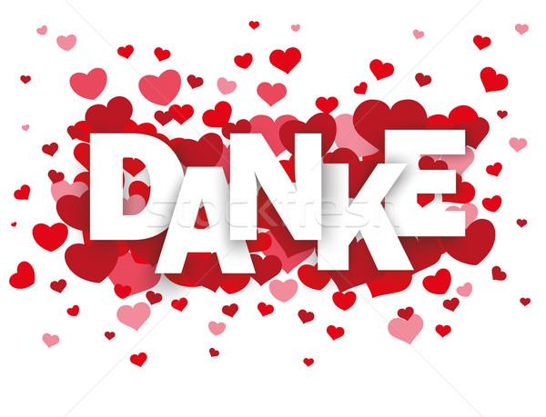 Piros szívek szöveg köszönet fehér eps Stock fotó © limbi007