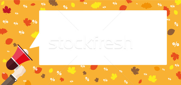Flat Hand Bullhorn Speech Bubble Fall Foliage Percents Header Stock photo © limbi007
