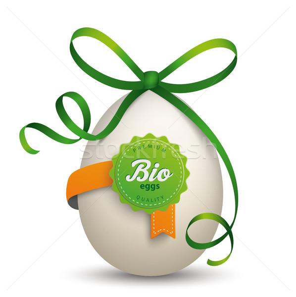 Biyo etiket yumurta yeşil şerit beyaz Stok fotoğraf © limbi007
