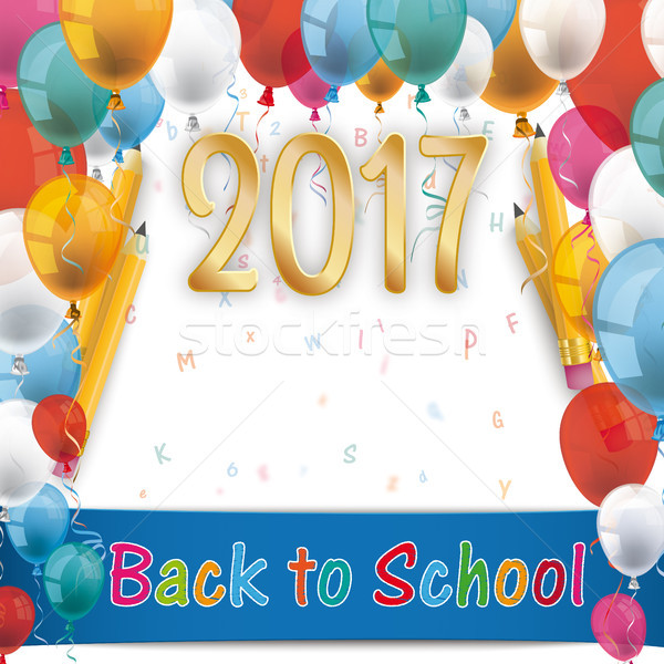 Balloons Back To School Pencil Letters 2017 Stock photo © limbi007