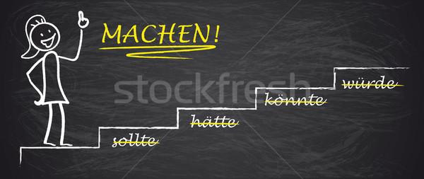 Blackboard Stickwoman Motivation Sollte Machen Stock photo © limbi007