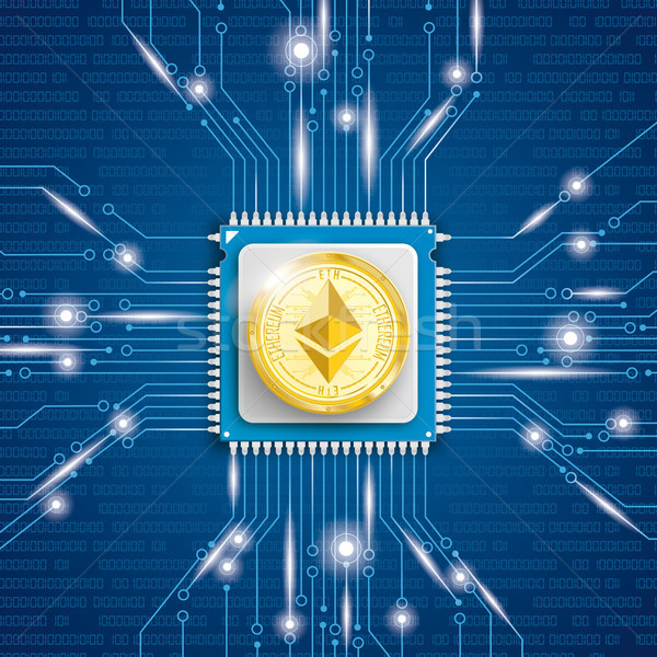 Golden Ethereum Coin Microchip Processor Lights Stock photo © limbi007