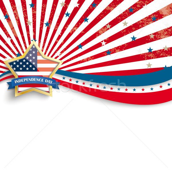 Golden Star Independence Day Stars Stripes Flyer Stock photo © limbi007