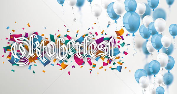 Blue White Balloons Confetti Oktoberfest Header Stock photo © limbi007