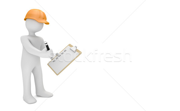 Könyvvizsgáló narancs sisak vágólap fehér 3d illusztráció Stock fotó © limbi007