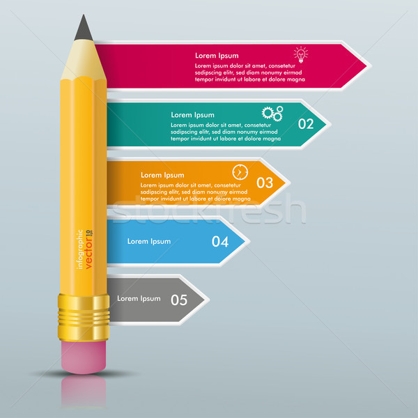 Pencil Colored Arrows Directions Infographic Mirror Stock photo © limbi007