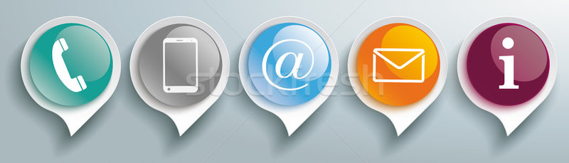 Speech Bubbles Glossy Contact Buttons Header Stock photo © limbi007