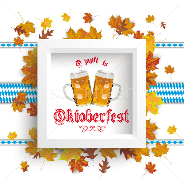 White Frame Autumn Foliage Oktoberfest Stock photo © limbi007