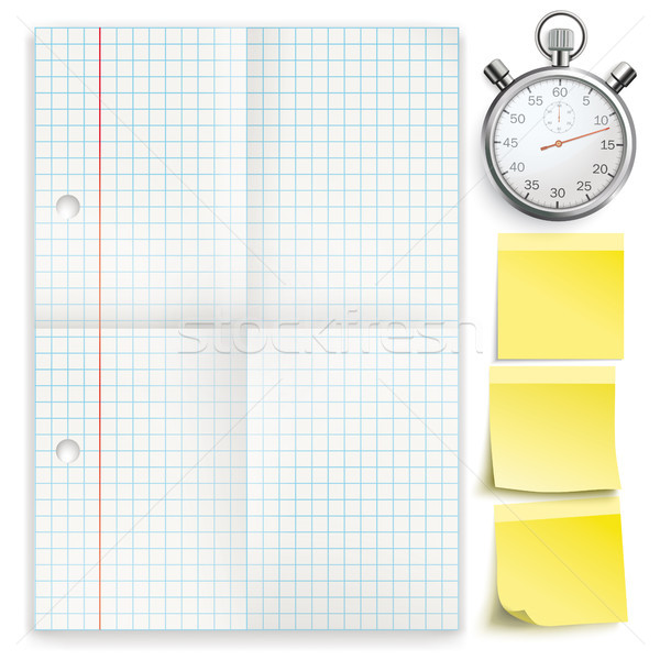 Checked Folded Paper Yellow Sticks Stopwatch Stock photo © limbi007