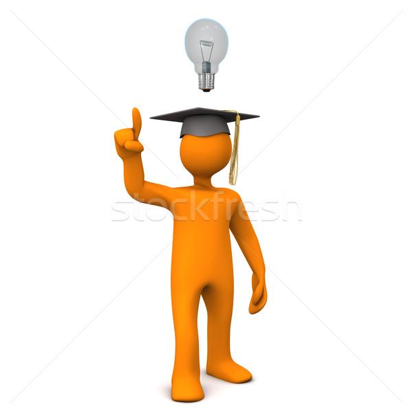 Diplomás villanykörte narancs rajzfilmfigura fekete érettségi Stock fotó © limbi007