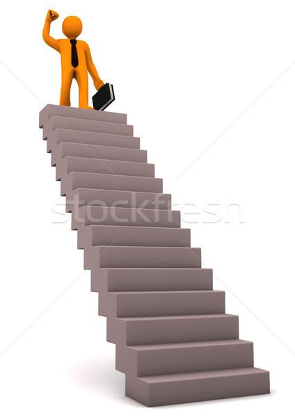 Réussi affaires ambition orange escalier Photo stock © limbi007