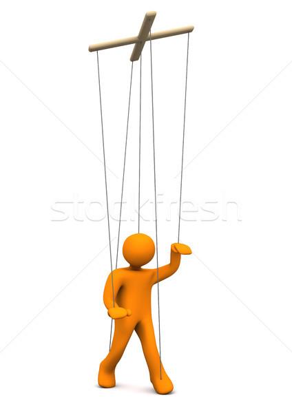 марионетка оранжевый белый 3d иллюстрации печально работник Сток-фото © limbi007