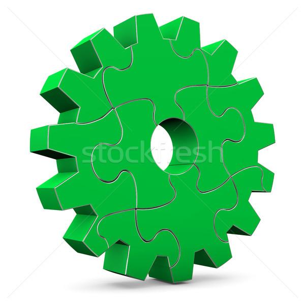 Green Puzzle Gear Wheel Stock photo © limbi007