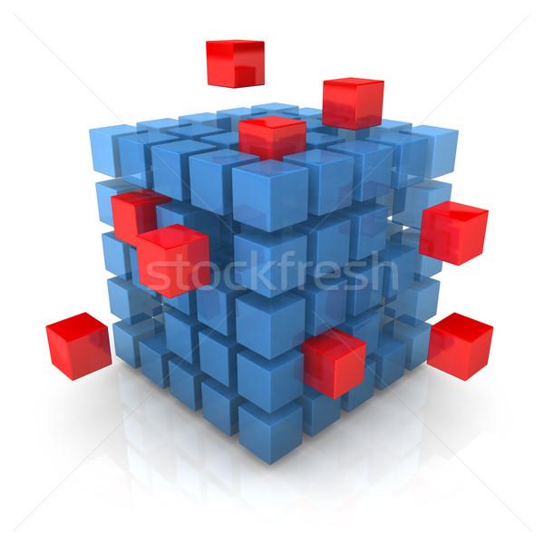 Stock fotó: Durranás · kocka · nagy · kék · piros · kockák