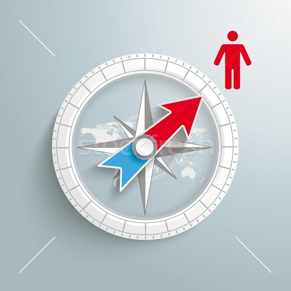 Stock photo: Compass Manikin Silver Background