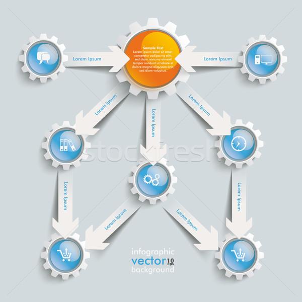 Stock photo: Paper Arrows Gears Blue Orange Flowchart