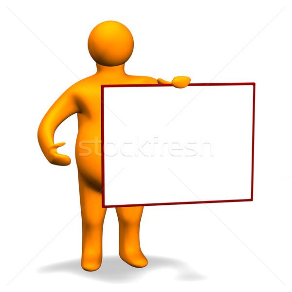 Narancs tábla 3D 3d illusztráció külső humanoid Stock fotó © limbi007