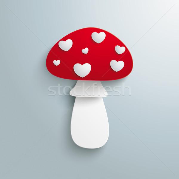Flye Agaric White Hearts Stock photo © limbi007