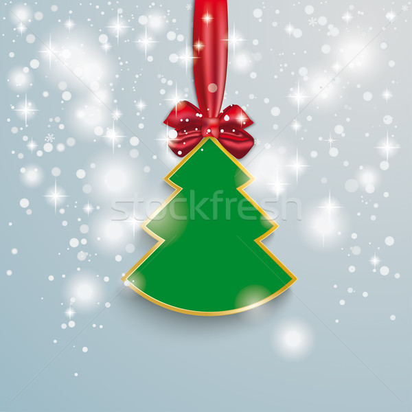 Christmas Tree Snow Lights Red Ribbon Stock photo © limbi007